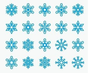 Snowflakes Shape Icon Vector Collection
