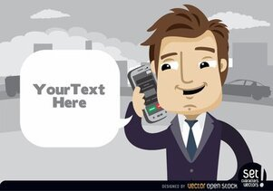 Executive talking by cell phone text cloud