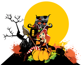 Happy Halloween Witch Girl with Pumpkin Vector Art