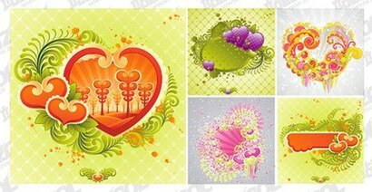 5 colorful heart-shaped element