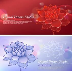 Lotus Dream Red and Blue Background