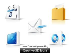 Web 3D brilhante elemento Icon Set