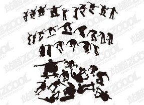 Skateboarding People silhouette