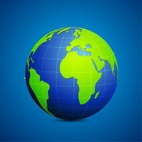 Modern Globe Blue and Green Connection