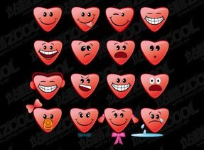 Heart-shaped vector material subject emoticons