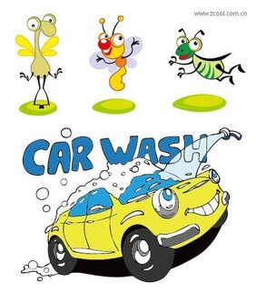 Cartoon insects and cars