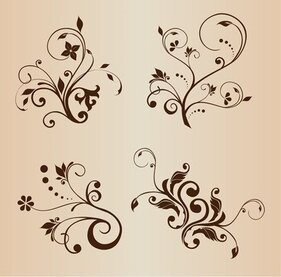4 swirly Floral elementos decorativos