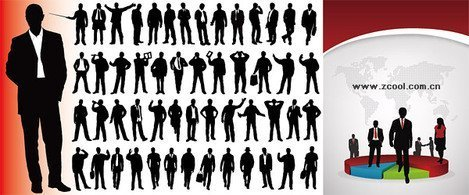 Business people silhouettes vector material and statistical