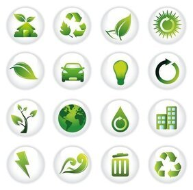Green Environment Day Icons Symbols