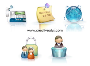 Glossy Beautiful 3D Business Icons