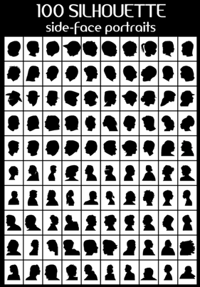 100 Side Face Portraits Vector Silhouettes Free
