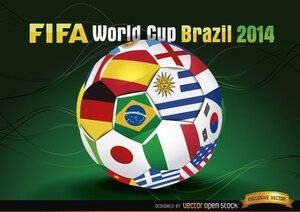 Brasil 2014 Footaball with Team Flags