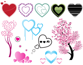 Heart Shaped Free Vector Set