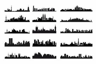 City Skyline paysage Silhouette vecteur Set