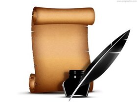 Paper scroll with quill pen (PSD)