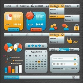 Practical Web Design Elements 04- Vector Material Web Design Icons Labels