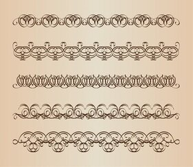 Set Vector de bordures décoratives de calligraphie