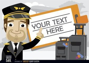 Pilot with luggage and travel ticket text