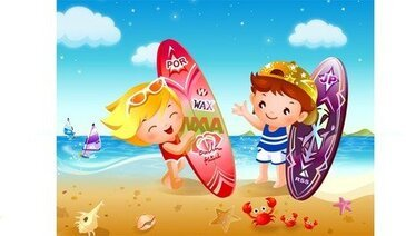 Children Beach Surfing