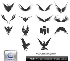 Silhouet abstracte Eagles & vleugels Pack