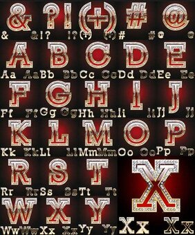 Vector diamond embedded in the English alphabet material