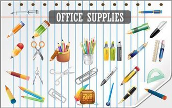 Gratis Vector Office Supplies Icon Set