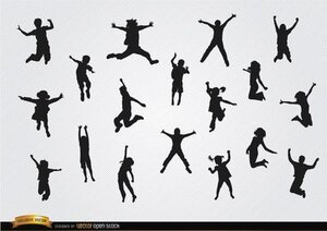 Children jumping silhouettes pack
