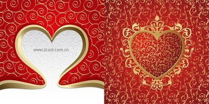 2 gorgeous heart-shaped and the background pattern vector ma