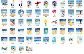 Summer Beach Resort Vector material package