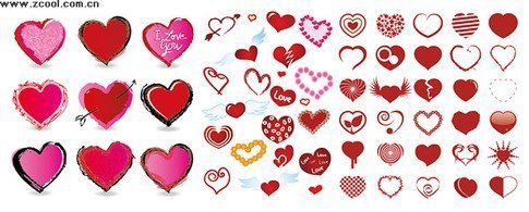A variety of heart-shaped elements of various styles of vect