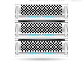 Silver rack server, PSD web icon