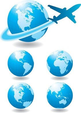Globe And Airplane Vector, Blue Marbel