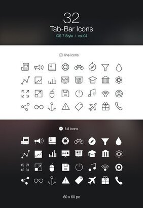 Tab Bar Icons iOS 7 Vol4