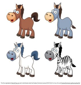 Vettore Cartoon cavallo icone