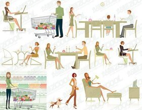 10 white-collar work-life illustrations of modern vector mat