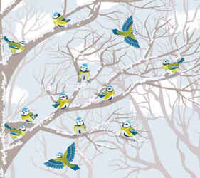winter snow tree and birds background