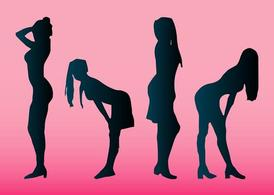 Girls Silhouettes Stock Vectors