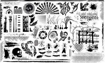 Series of black and white design elements