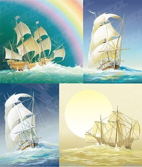 4 beautiful old sailing