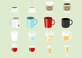 Cups, Mug Vectors and Glasses Vectors