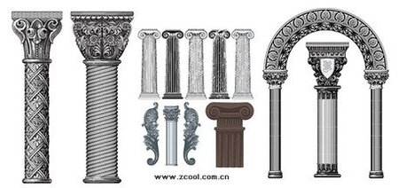 A variety of European-style classical columns pattern