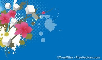 Grunge Floral Cubes Background
