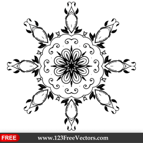 Vector Ornate Floral Decoration Design Element