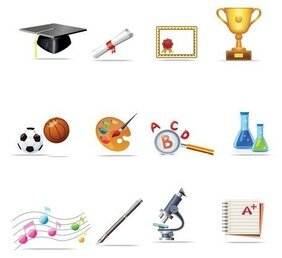 School relate icons set