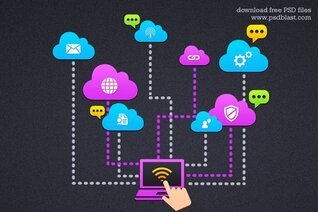 Cloud Computing ikona (PSD)