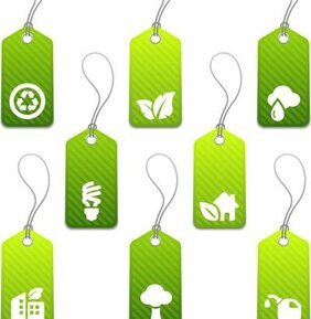 Set of green eco product tags with icons