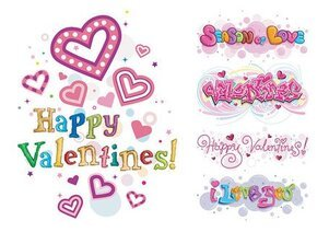 Happy Valentine's Day vector clip art of words