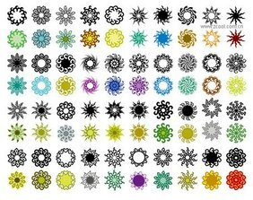 Variety of classical elements in a circular pattern vector m