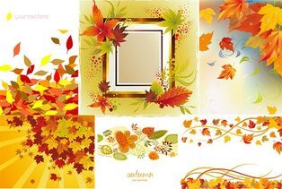 6 Vector autumn maple leaf border