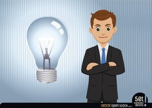 Businessman having an idea (lightbulb)